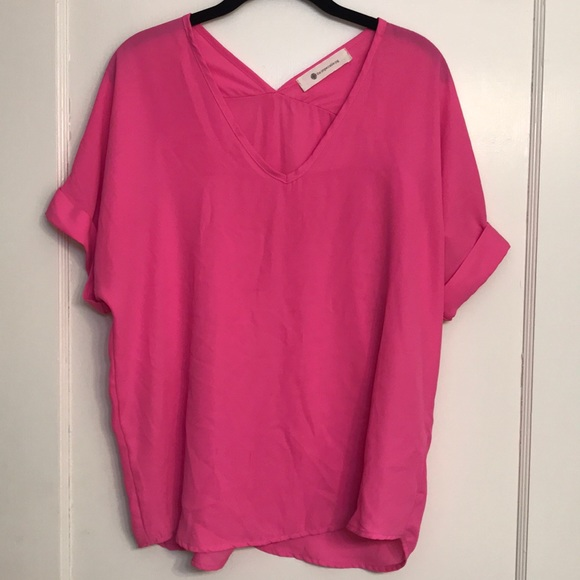 The Impeccable Pig Tops - Pink Short Sleeve Blouse